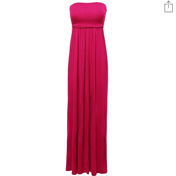 6ae39ee8e18da Hot pink maxi dress skirt stretch tube strapless. M_5c4853d8a31c337439e54620